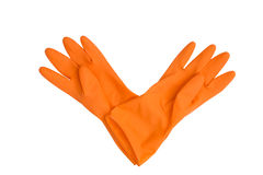 Orange rubber gloves isolated on white Stock Images