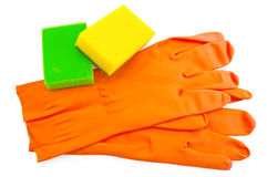 Orange rubber gloves with sponges Royalty Free Stock Image