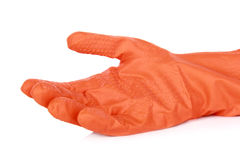 Orange rubber gloves Royalty Free Stock Photo