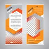 Orange rulla upp mallen för banerställningsdesignen royaltyfri illustrationer