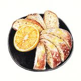 Orange rum cake. Art Design Orange rum cake. Hand watercolor painting on paper royalty free illustration