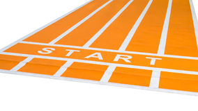 Orange running track with wording start royalty free stock photo