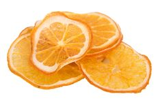 Orange sèche sur le fond blanc Images libres de droits