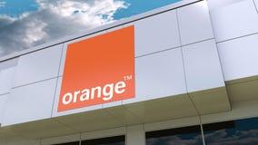 Orange S.A. logo on the modern building facade. Editorial 3D rendering Stock Photography