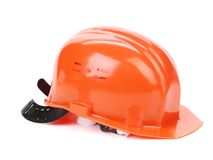 Orange safety head hat. Stock Photo