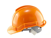 Orange Safety helmet. Isolated on white Stock Photo