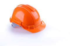 Orange safety helmet hard hat, tool protect worker. Of danger in construction industry Stock Photos