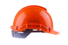 Orange safety helmet hard hat, tool protect worker. Of danger in construction industry, isolated on white background Stock Image