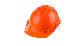 Orange safety helmet hard hat, tool protect worker. Of danger in construction industry, isolated on white background Royalty Free Stock Image