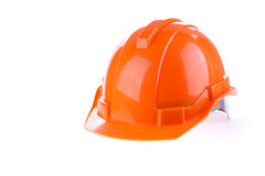 Orange safety helmet hard hat, tool protect worker. Of danger in construction industry on white background Royalty Free Stock Photos