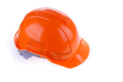 Orange safety helmet hard hat, tool protect worker of danger. In construction industry on white background Stock Photos