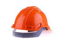 Orange safety helmet hard hat, tool protect worker of danger. In construction industry on white background Royalty Free Stock Image