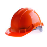 Orange safety helmet hard hat, tool protect worker of danger. In construction industry on white background Stock Images