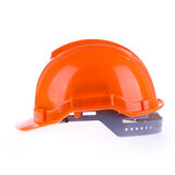 Orange safety helmet hard hat, tool protect worker. Of danger in construction industry on white background Stock Photo