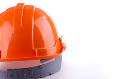 Orange safety helmet hard hat, tool protect worker. Of danger in construction industry,  on white background Stock Photos