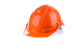 Orange safety helmet hard hat, tool protect worker. Of danger in construction industry on white background Royalty Free Stock Photography