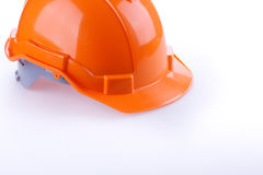 Orange safety helmet hard hat, tool protect worker. Of danger in construction industry on white background Stock Photography