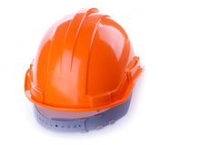 Orange safety helmet hard hat, tool protect worker. Of danger in construction industry on white background Royalty Free Stock Images