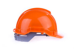 Orange safety helmet hard hat, tool protect worker. Of danger in construction industry on white background Stock Photos