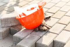 Orange safety helmet Royalty Free Stock Image
