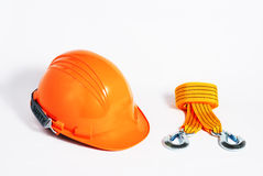 Orange safety helmet with Nylon sling Stock Photo