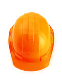 Orange safety helmet  on white background, hard hat on w Stock Photos