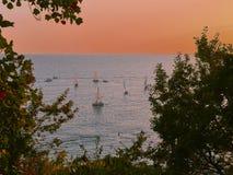 Orange sails Royalty Free Stock Images