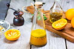 Orange salad dressing with poppy seed Stock Images