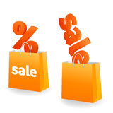 Orange sale banner. On white background Royalty Free Stock Photos