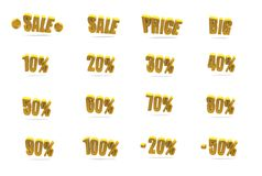 Orange sale and discount symbols Royalty Free Stock Image