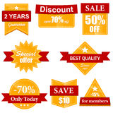 Orange sale labels and stickers Stock Images
