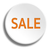 Orange sale in round white button with shadow Stock Photo