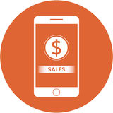 Orange sales and dollars sign design in a flat round button Royalty Free Stock Photos