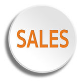 Orange sales in round white button with shadow Royalty Free Stock Images