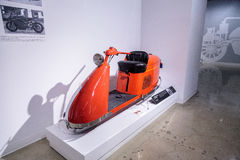 Orange 1947 Salsbury Model 85 Streamlined scooter. Los Angeles, CA, USA — March 4, 2017: Orange 1947 Salsbury Model 85 Streamlined scooter from Bill Kling at Royalty Free Stock Photos
