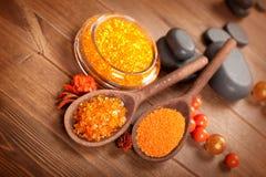 Orange salt and spa stones Stock Photo