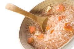 Orange salt. sweet aroma bath Stock Photos