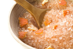 Orange salt. sweet aroma bath Royalty Free Stock Image