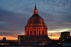 Orange San Francisco City Hall Sunrise Stockbilder