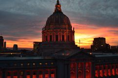 Orange San Francisco City Hall Sunrise Royalty Free Stock Image