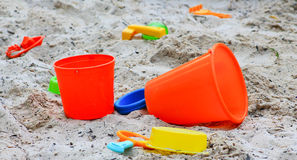 Orange sand buckets Stock Photo