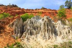 Orange sand cliffs in Fairy Stream, Vietnam stock images