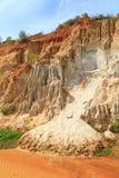 Orange sand cliffs in Fairy Stream, Vietnam royalty free stock photo