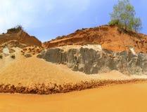 Orange sand cliffs in Fairy Stream, Vietnam stock photos