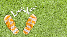 Orange sandal on background of green grass Royalty Free Stock Photography