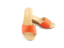 Orange sandal on white background. Orange sandal isolated on white background Royalty Free Stock Photo
