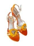 Orange sandals. Isolated on white Stock Image