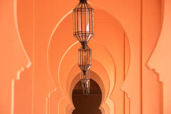 Orange sandy arabic morrocco style corridor background Stock Images