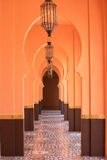 Orange sandy arabic morrocco style corridor background.  Royalty Free Stock Image