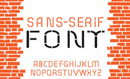 Orange sans-serif font on old brick wall background. Vector illustration Stock Image